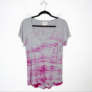 Gypsy 05 Gray and Pink Tie Dye Ribbed Tee